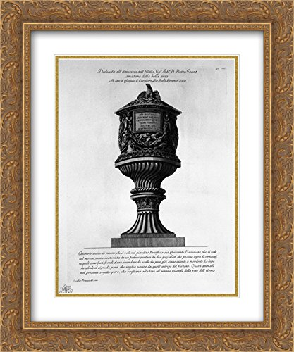 Giovanni Battista Piranesi 2X Matted 20x24 Gold Ornate Framed Art Print 'Ancient Marble urn in The Garden of The Quirinal'