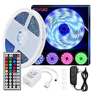 LED Strip Lights, HQVOIC 32.8ft Non-Waterproof Tape Lights Color Changing 5050 RGB LEDs Light Strips Kit with Remote for…