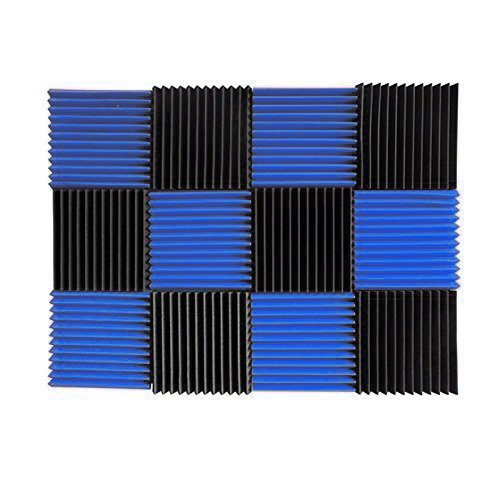 - (12 Pk) Blue/Charcoal acoustic foam tiles soundproofing foam panels sound insulation soundproof foam padding sound dampening Studio sound proof padding 1