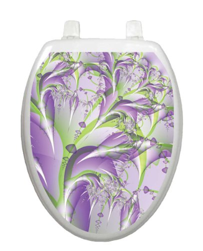 Lavender Fields Toilet Tattoo TT-1086-O Elongated Colorful Summer Theme Cover Bathroom by Toilet Tattoo
