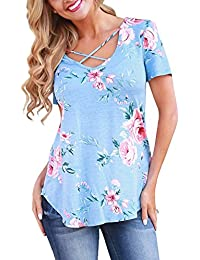 Short Sleeve Floral T-Shirts for Women Criss Cross V-Neck Summer Plus Size Casual Tops