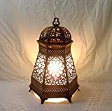 B157 Arabian Brass Hexagonal Table Lamp / Lantern With Frosted Glass Lining