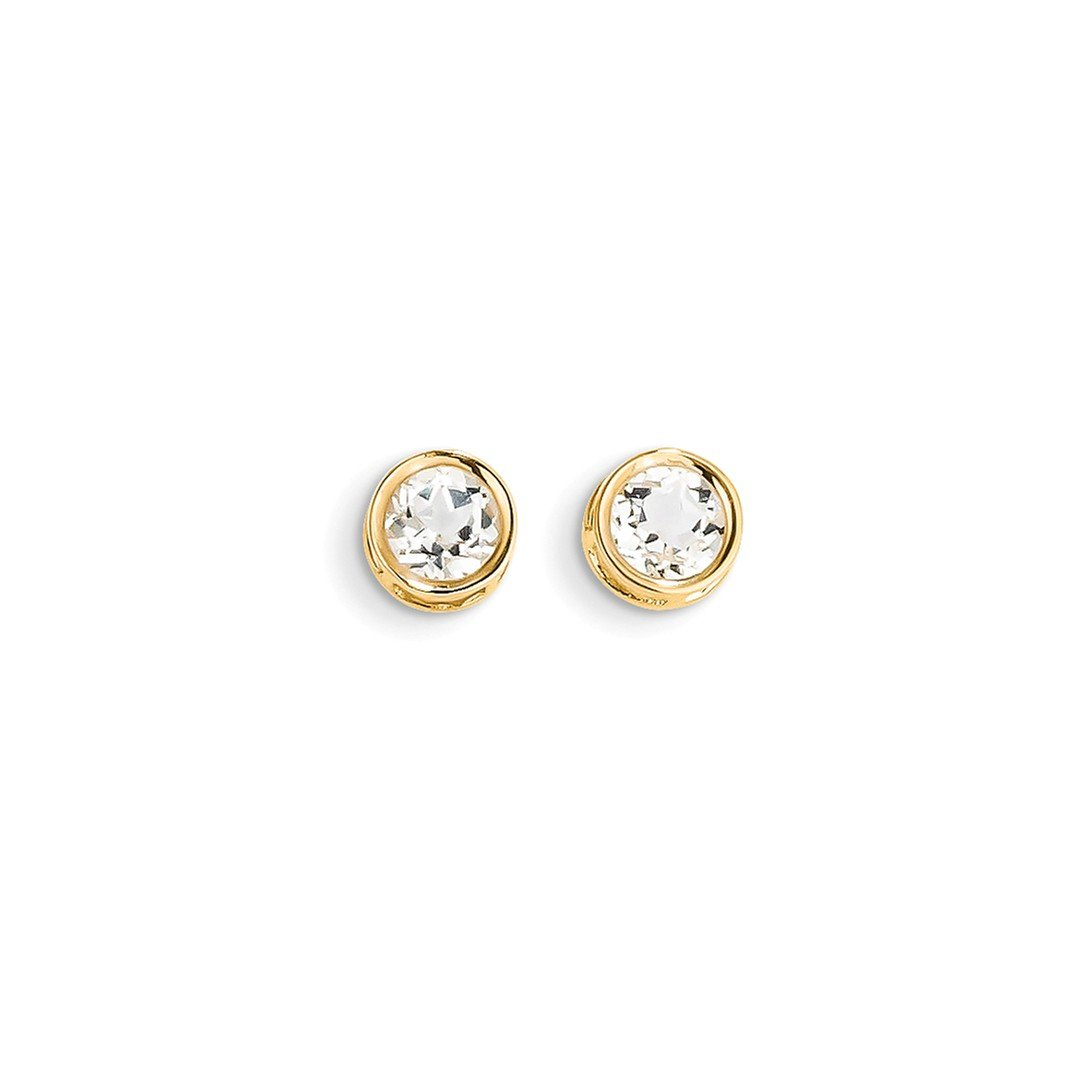 ICE CARATS 14k Yellow Gold 5mm Bezel White Topaz Stud Ball Button Earrings Birthstone April Fine Jewelry Gift Set For Women Heart