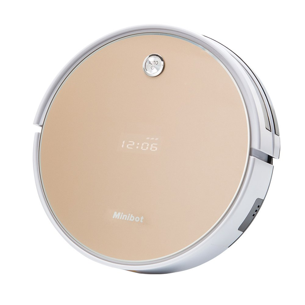 Robotic Vacuum Cleaner Minibot X5 For Hard Floors Tile Rugs And Pet Hairs Strong Suction Golden