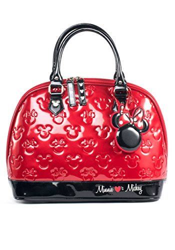 Mouse Purse (Mickey and Minnie Red and Black Patent Embossed Bag)