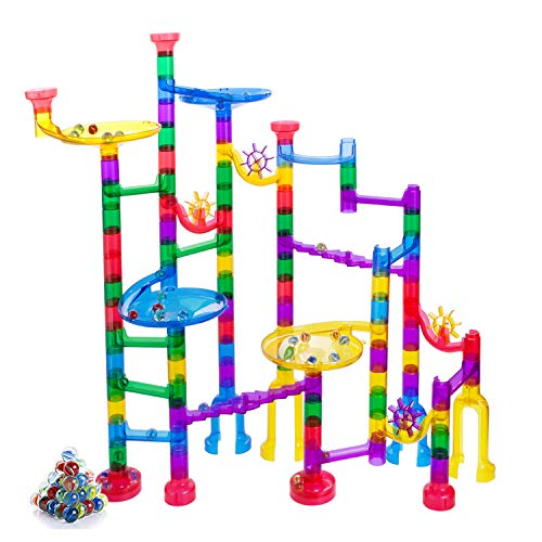 Gifts2U Marble Run Sets Kids, 122 PCS Marble Race Track Game 90 Translucent Marbulous Pieces + 32 Glass Marbles, STEM Marble Maze Building Blocks Kids 4+ Year Old (Best Marble Run Set)