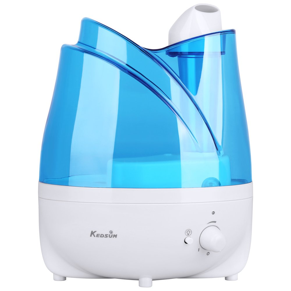 Ultrasonic Humidifier with Essential Oil Tray, KEDSUM 2L/0.53 Gallon Cool Mist Humidifiers Essential Oil Diffuser with Adjustable Mist Dial Knob Control,Various Night Light, Filter Free, Whisper Quiet