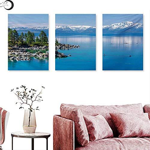 anvas Prints Wall Art Blue Waters of Lake Tahoe Snowy Mountains Pine Trees Rocks Relax Shore Triptych Art Set Pale Blue Green Grey W 20