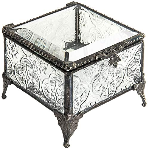 J Devlin Box 296 Clear Vintage Glass Box Decorative Keepsake Trinket Jewelry Box