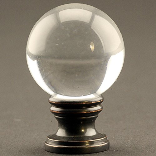Crystal Clear Ball 30mm Lamp Finial on Oil Rubbed Bronze base - 1.75 Inches High
