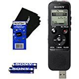 Sony ICD-PX440 Stereo IC MP3 Digital Voice Recorder Built-in 4GB and Direct USB + AAA Batteries & HeroFiber® Ultra Gentle Cleaning Cloth