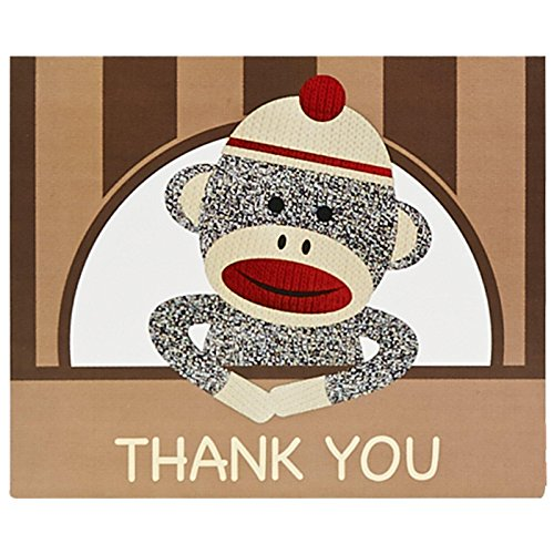Sock Monkey Party Supplies - Thank-You Notes (8) (Sock Puppet Monkey Costume)