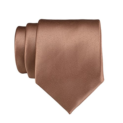 Classic Work Men Colors 18 Ties Party Satin Formal Wedding light 22 in Pure Brown Solid Plain Polyester Neckties for Color Neck q6wSfEABPS