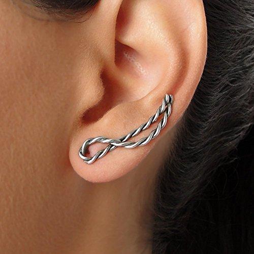 (Minimalist ear climber earrings, gift sterling silver ear cuff earings, ear sweeps, elf earcuffs, ear crawler earrings, gift for women)