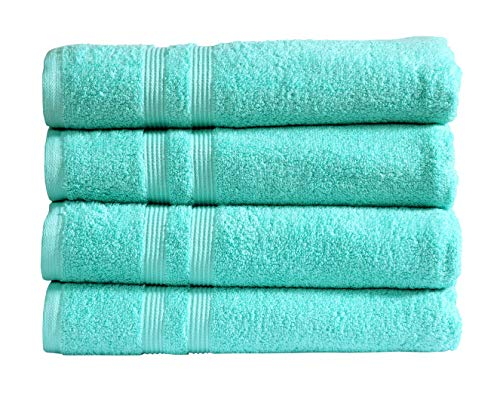 Divine 100% Cotton Premium Quality Luxury Hotel & Spa Turkish Towels Super Soft, Plush,Ultra Absorbency & Quick Dry Eco-Friendly (30 x 54 inch) Bath Towel – Set of 4 (Aqua)