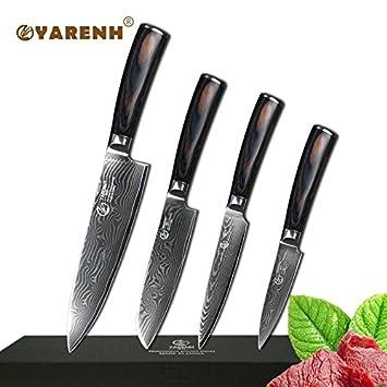 Compra Uniqus YARENH 4 Piezas Damascus Cuchillos de Cocina ...