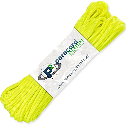PARACORD PLANET 100' Hanks Parachute 550 Cord Type III 7 Strand Paracord Top 40 Most Popular Colors (Neon Yellow) - Extra Large Yellow Color