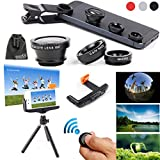 EEEKit 3in1 Photo Shooting Kit for Smartphones,Wireless Bluetooth Camera Remote Shutter Release, Fish-Eye/Wide Angle&Macro Lens, Tripod Stand Mount