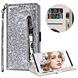 Luxury Glitter Bling Zipper Wallet Phone Case for Samsung Galaxy S9, MOIKY Bookstyle PU Leather Flip Folio Magnetic Purse Pockets Credit Card Holder Wrist Strap Case Cover for Samsung Galaxy S9 - Silver