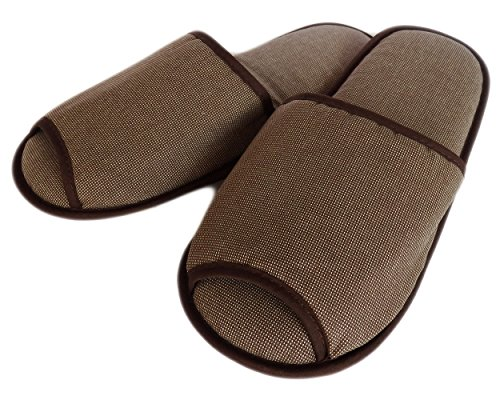 (2 Pairs) Amatahouse Aro Luxury Home Hotel & Spa Open Toe Slippers 100% Genuine Cotton Brown Bath 11inches