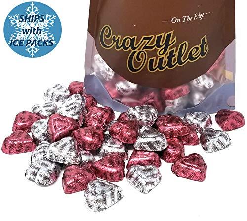 CrazyOutlet Pack - Hershey's Chocolate Hearts Extra Creamy Milk Chocolate, Wedding Candy Bulk, 2 lbs