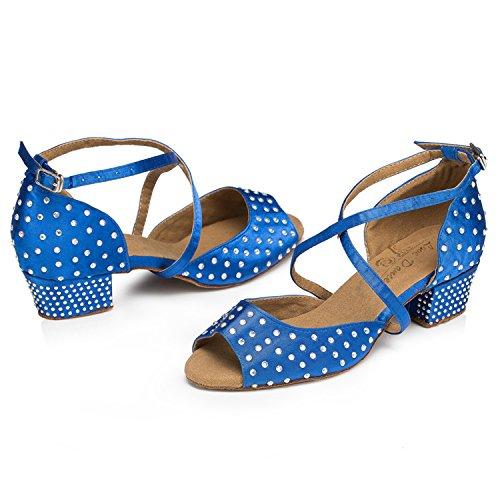 De baño de mujer Minitoo de satén de y pedrería para de boda juego de cristales decorativos Latin zapatos de danza de para fiesta tacón Azul - azul