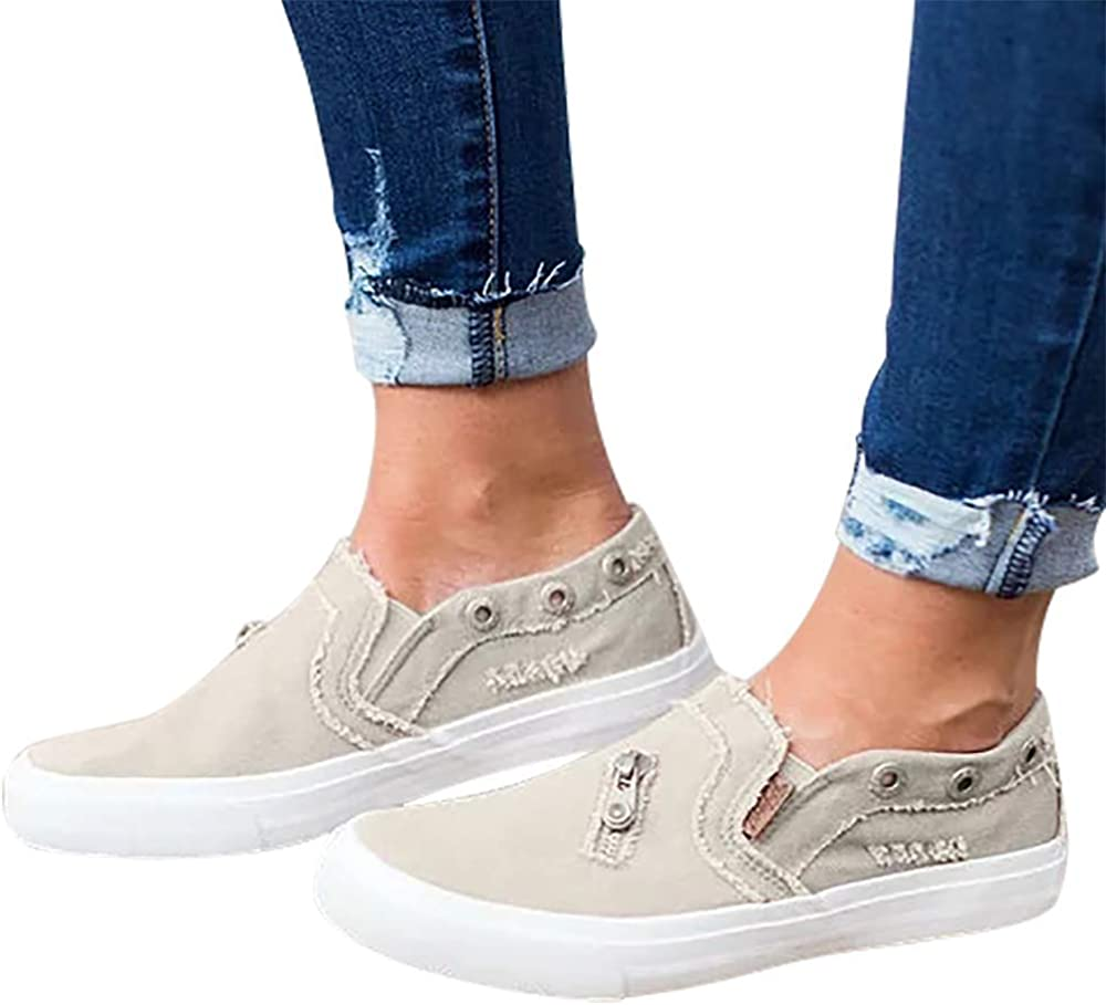 MORNISN Womens Fashion Canvas Sneakers Casual Loafers Shoes Slip on Flats Comfortable Distressed Walking Shoes