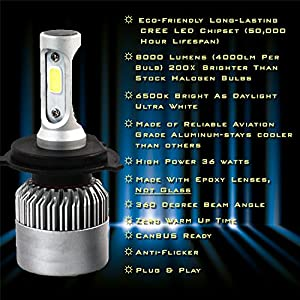 LED HEADLIGHT KIT H4 - (9003/HB2) 8000 lumen ALL-IN-ONE Conversion Kit Bulbs Hi/Lo BeamLED. Eco-Friendly CREE LED, 6500k Brighter Than Daylight Ultra-White, Easy Install, 2-Yr Warranty