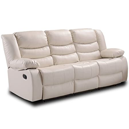Belfast Ivory Cream Leather Reclining Sofa Range (All combinations  available) ... (3 Seater Sofa)