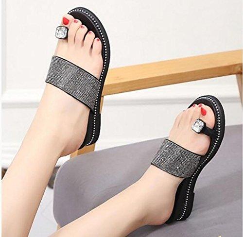 sandales 36 pantoufles pantoufles pantoufles Sandales des taille clip Wear de strass mode Toe Les A nbsp; plates FAFZ de de chaussons B Joker sandales Couleur Korean mode la mode plat 6wYfRpx