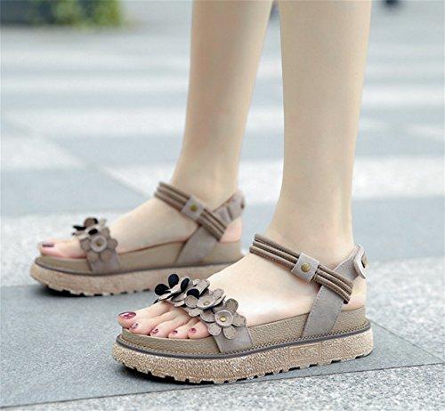 xie Sandales de grande taille femmes étudiants d'été plate-forme chaussures collège épais chaussures femmes chaussures rétro chaussures romaines 34-42 khaki 6Ydvi