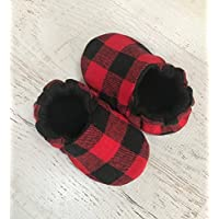 Red Buffalo Plaid baby booties