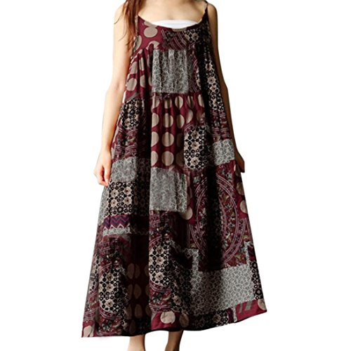 Joint Women Bohemia Summer 2018 Sleeveless Linen Strappy Loose Print Long Dress Party Beach Casual Plus Size (2X-Large, Red) (Neck Porcelain Long)