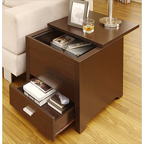Metro Shop Furniture of America Kai Double Storage Dark Espresso End Table-- - Metro Modern Sofa