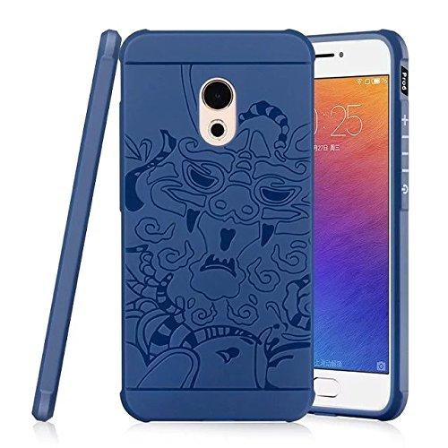 SMTR Meizu Pro 6 Funda Silicona, Meizu Pro 6 Funda Gel Suave TPU Case - Carcasa Resistente a los Arañazos para Meizu Pro 6 -dragón Negro dragón Azul