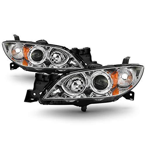 ACANII - For Chrome 2004-2009 Mazda 3 Sedan Headlights [Halogen Models] Projector Headlamps Driver & Passenger Side