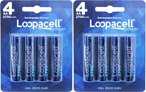 Loopacell AA Ni-MH 2700mAh Rechargeable Batteries (Pack of 8)