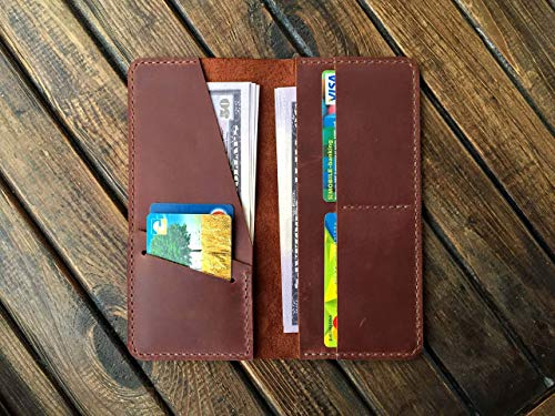 Long Bifold Leather Wallet - Western Cowboy Vintage Clutch - Genuine Distressed Full Grain Organizer - Travel Wallet for Mens/Womens - Brown Distressed Leather