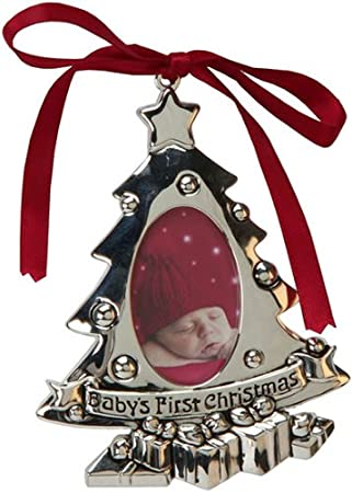 Babys First Christmas Tree Silver Plated Photo Frame Ornament