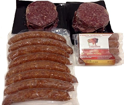Bison Party Grill Pack (8 Qty – 4 Oz. Bison Smoke Brats, 4 Qty - 2 Oz. Bison Hot Dogs, 6 Qty – 5.3 Oz Bison Burgers) (1 order includes) Made with North American Buffalo.