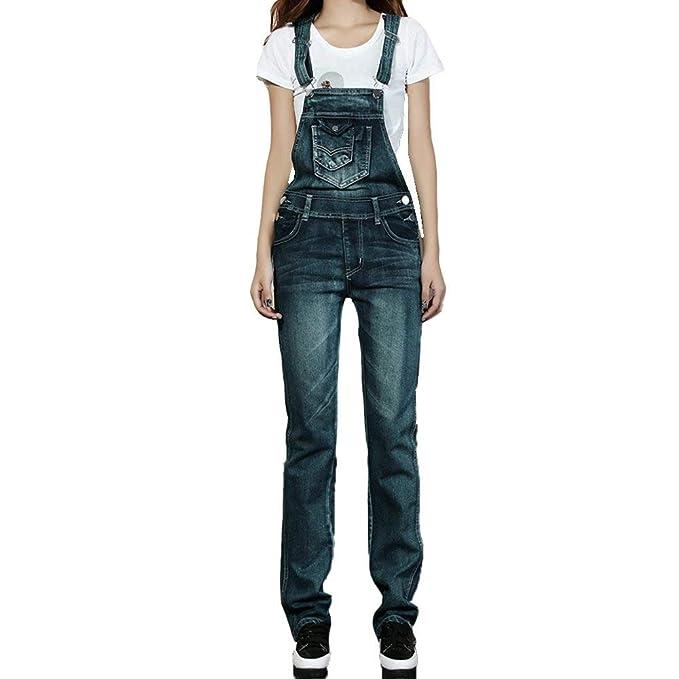 con donne vita jeans Peto dei delle moderno foro moderno matita della del denim di il denim casuale della alta del pantaloni Tute dei Haidean hQxBtCosrd