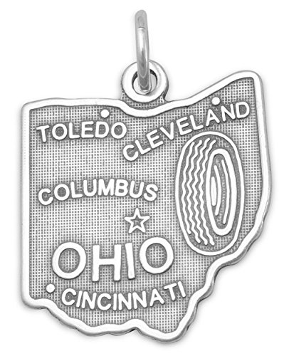 Oxidized Sterling Silver Charm, State of Ohio, 1 inch