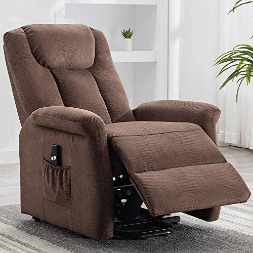 Bonzy Home Electric Power Lift Recliner Chair with Remote for Elderly, Soft Fabric Power Recliner with Remote for Bedroom Theater Room Chocolate