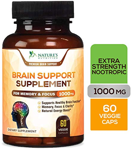 Brain Supplement 1053mg – Premium Nootropic Brain Support – Made in USA – Naturally Supports Focus and Clarity, Helps…