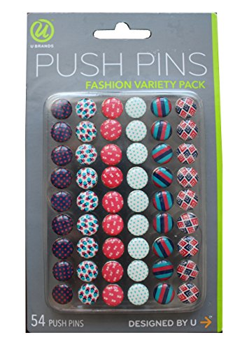 - U Brands Fashion Steel Push Pins, Pink Blue & Teal Assorted Colors, 54 Count (00579AANTR)