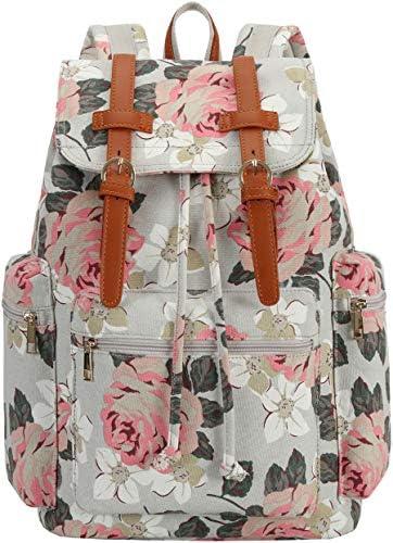 Bluboon Vintage-Rucksack aus Segeltuch, Lederbesatz, lässige Büchertasche, für Damen und Herren