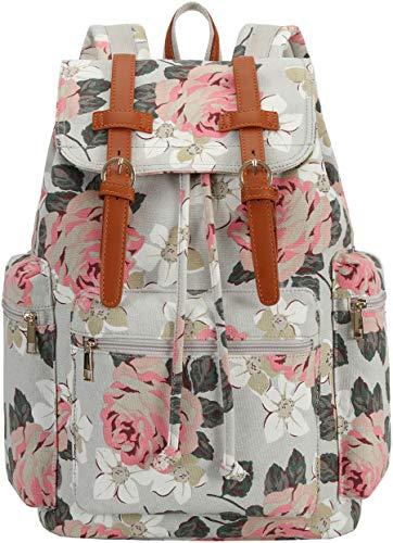 Girls School Backpack Women College Bookbag Canvas Travel Rucksack 15.6 inches Laptop Bag (Grey floral)