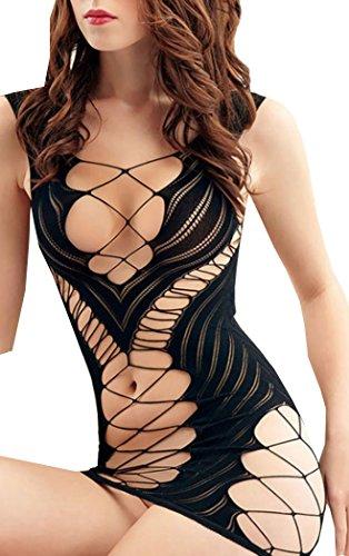 BOBOVIIA Sexy Lingerie Fishnet Chemise Hot Mesh Mini Dress Sleepwear Nightwear For Sexy Women(Black)