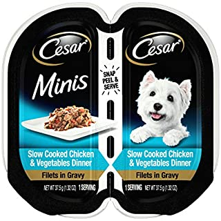 CESAR Minis Wet Dog Food Filets in Gravy, Slow Cooked Chicken & Vegetables Dinner, (24) 2.64 oz. Easy Peel Twin Pack Trays