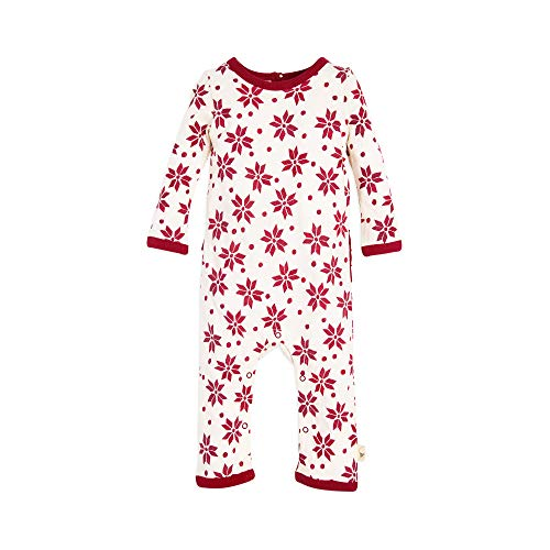 Burt's Bees Baby Baby Girl's Romper Jumpsuit, 100% Organic Cotton One-Piece Coverall, Cranberry Geometric Snowflakes 12 -